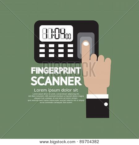 Finger On Fingerprint Scanner Device.