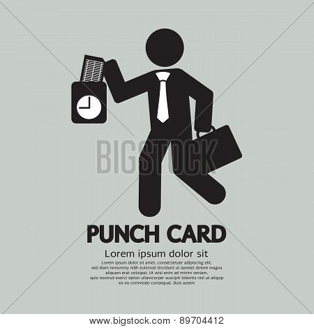 Businessman Using Punch Card For Time Check.