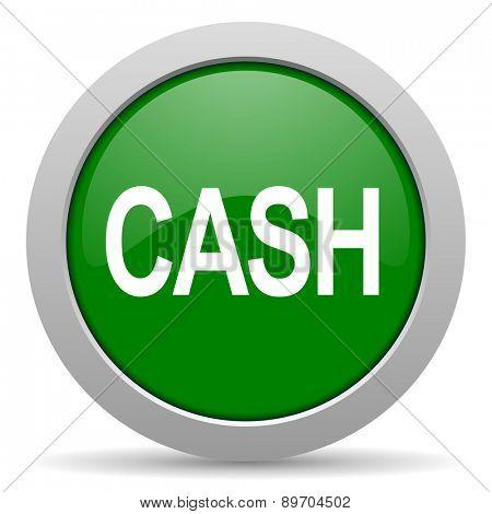 cash green glossy web icon