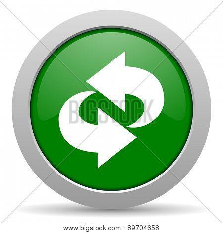 rotation green glossy web icon