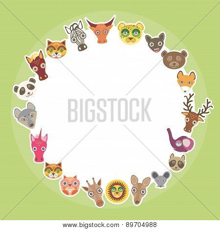 Funny Animals Card Template. White Circle On Light Green Background. Vector