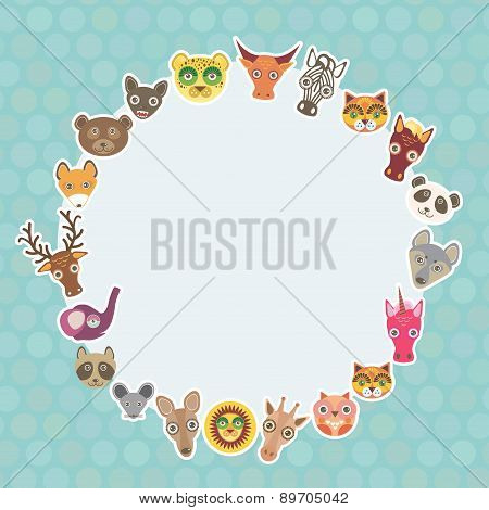 Funny Animals Card Template. White Circle On Light Blue Polka Dot Background. Vector