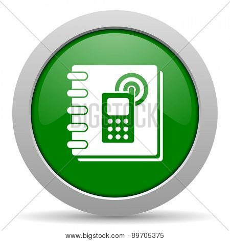 phonebook green glossy web icon
