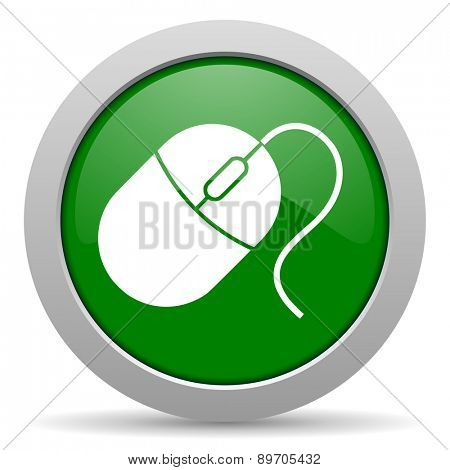 mouse green glossy web icon