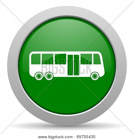 bus green glossy web icon