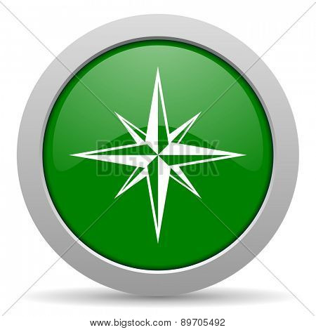 compass green glossy web icon