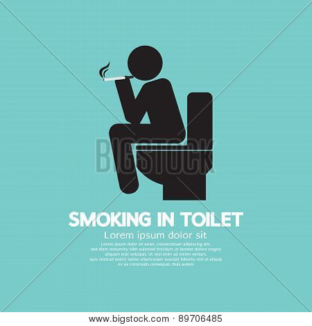 Smoking In Toilet Graphic Symbol.