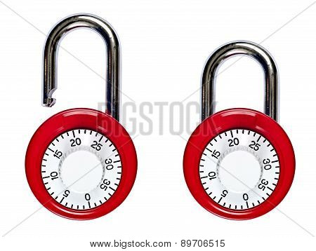 Locked And Unlocked Pair Of Combination Locks