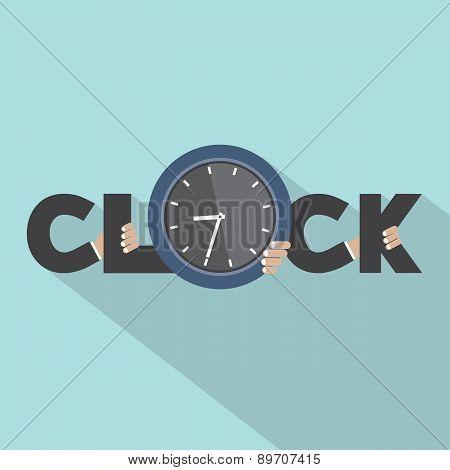 Clock Typography With Hands Symbol Design.