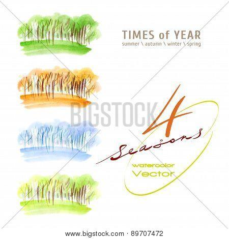 Watercolor seasons