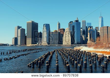 Manhattan downtown skyline with abandoned pier.