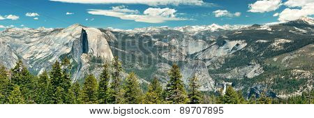 Yosemite mountain ridge with waterfall.