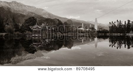 Sunrise with lake reflections in Dali, Yunnan, China.