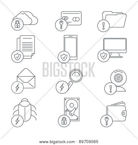 Business network security and data protection line art icons