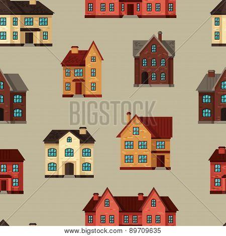 Town seamless pattern with cottages and houses