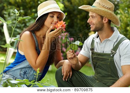 Romantic couple gardening, smelling rose at summertime, smiling.