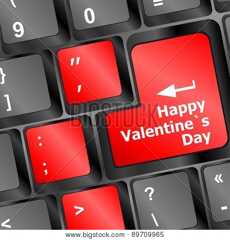 Happy Valentine S Day Button On The Keyboard - Holiday Concept Vector