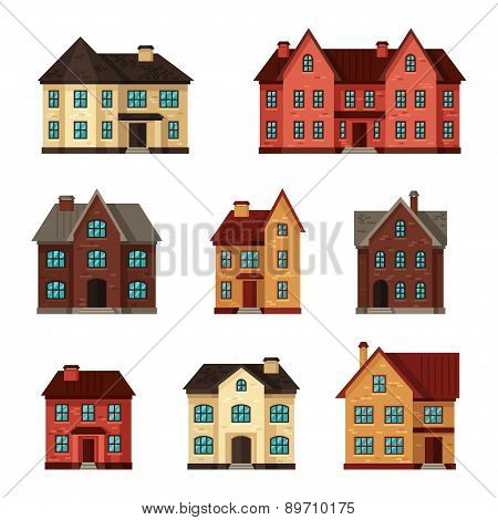 Town icon set of cottages and houses
