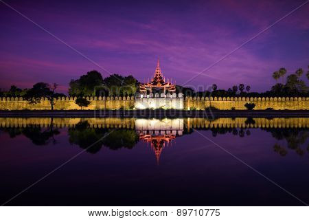 Night View Of Fort Or Royal Palace In Mandalay. Myanmar (burma)