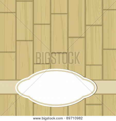 Retro Label Over Dull Yellow Wooden Tiles