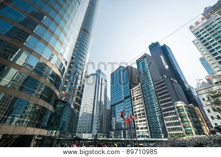 Hong Kong Cityscape. Crowded Square In Downtown