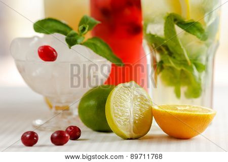Three glasses of refreshing drink Mohito