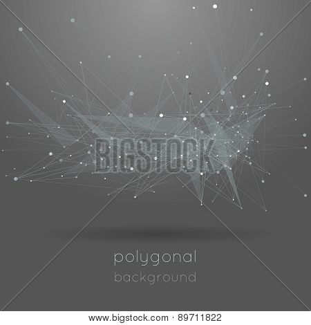 Low polygonal gray background with text