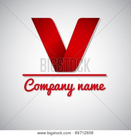 Icon of paper business logo letter v