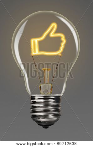 bulb with glowing like sign inside of it, creativity concept