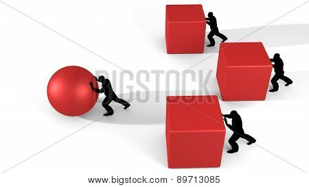 Workers pushing cubes and a ball