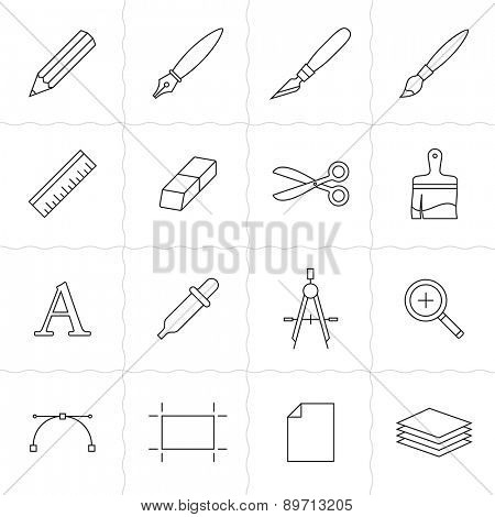 Designer tools I. Vector icons of drawing and painting tools. Simple outlined icons. Linear style