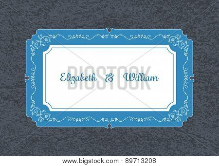 Wedding invitation card template with floral ornaments and custom ampersand. Vector illustration