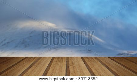 Beautiful Morning Winter Sunlight On Mountain Landscape Detail With Wooden Planks Floor
