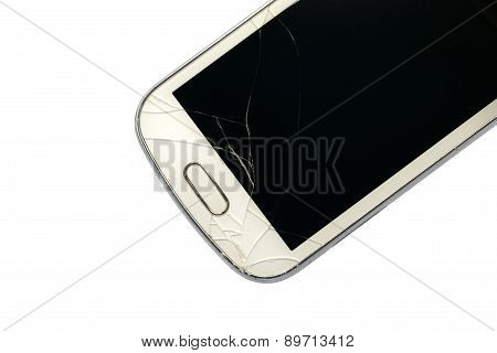 Broken Smart Phone Isolated On White Background