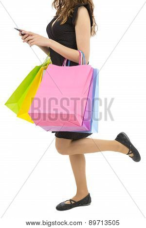 Shopping Woman With Her Cell Phone