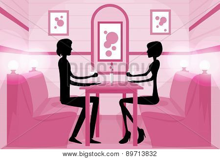 Couple Sitting Cafe Table Drink Coffee Romantic Love