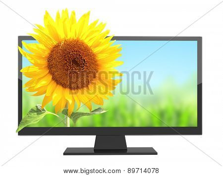 Modern TV with 3d effect on screen. Isolated on white background