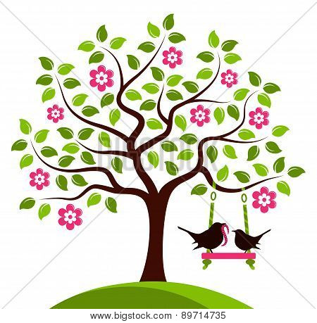 Flowering Tree And Birds
