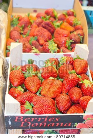 Strawberries in market on display
