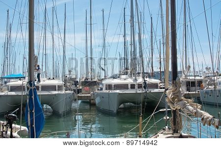 Sailing boats moored in the harbor