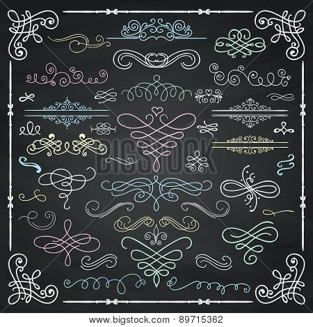 Vector Chalk Drawing Vintage Hand Drawn Swirls Collection