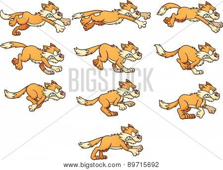 Angry cat run cycle. Ready for animation. Vector clip art illustration with simple gradients. Each frame on a separate layer.