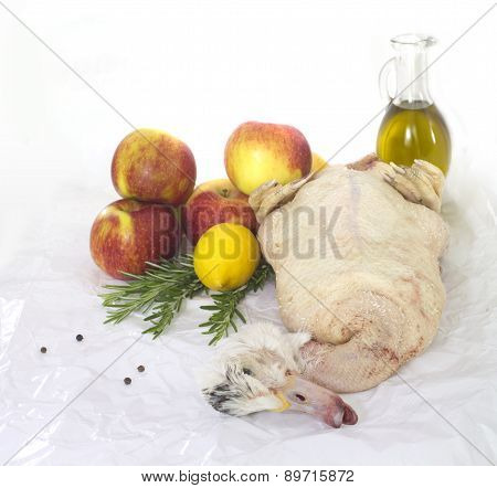 Ready To Cook Duck  With Apples