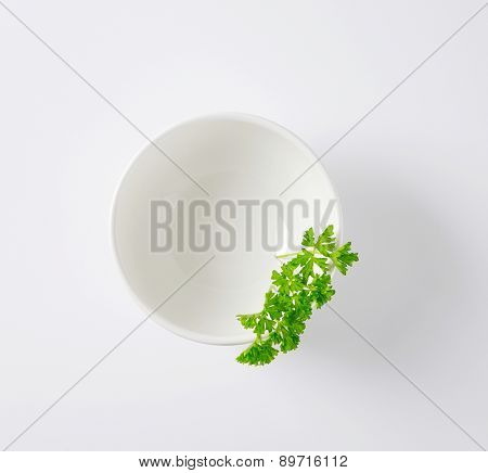overhead view of parsley with bowl