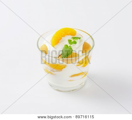 fresh white yogurt with apricots