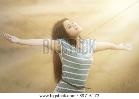 Woman Breathe Fresh Air Outdoors