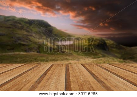 Moody Dramatic Mountain Sunset Landscape With Wooden Planks Floor