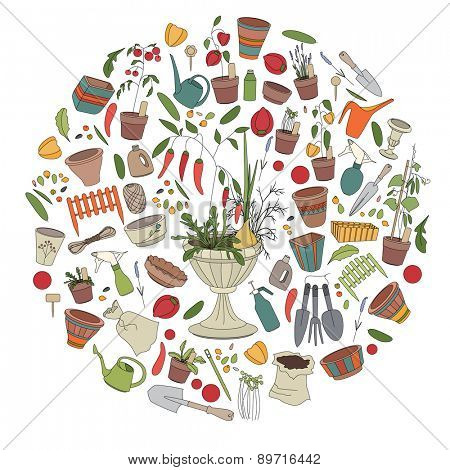 Round template with gardening tools, flower pots,herbs and vegetables