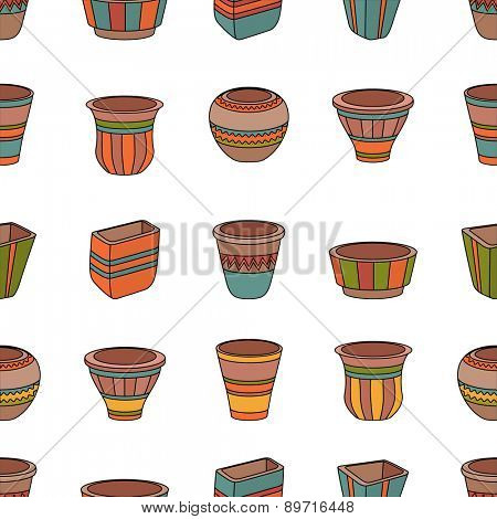 Seamless pattern with clay flower pots. Rows of ceramic pots.