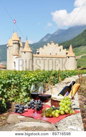 Wine and grapes. Switzerland